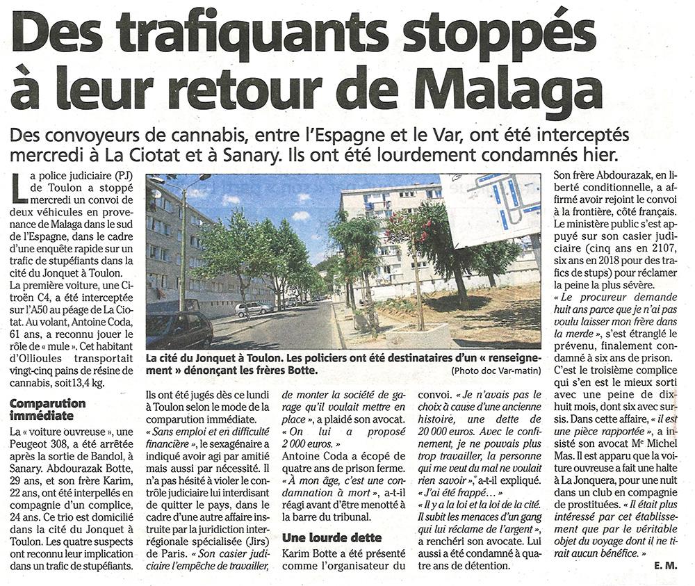 Des trafiquants stoppés à leur retour de Malaga